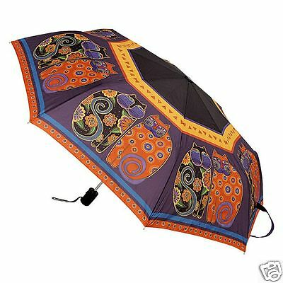 Laurel Burch Purple Orange Feline Family Cats Compact Umbrella Auto Open Close