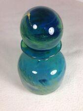 Mdina Turquoise aqua blue yellow Glass bottle deep sea blue stopper with sticker
