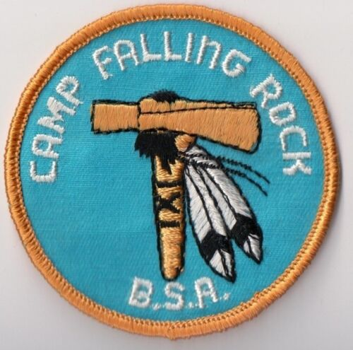 Yellow Bdr Boy Scout Patch 1960s MINT! Camp Falling Rock Central Ohio Council
