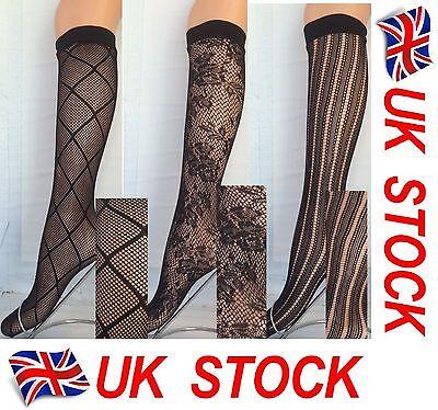 2 pairs Natural Beige Fishnet Pop Socks Trouser tights knee high neutral