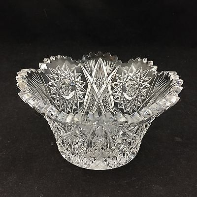 CLEAR CRYSTAL GLASS BOWL-SCALLOPED EDGE-SUNBURST, FLOWER DESIGN-5.5 INCH ROUND
