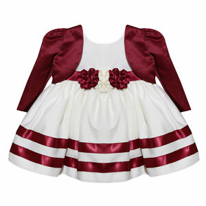 832ed589f576 Visara Flower Girls Burgundy Wine Ivory Rosebud Dress with Bolero ...