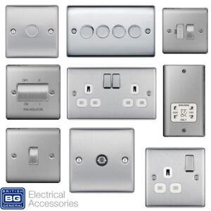 BG Nexus Brushed Steel Switches /& Sockets Full Range Satin Chrome White Inserts