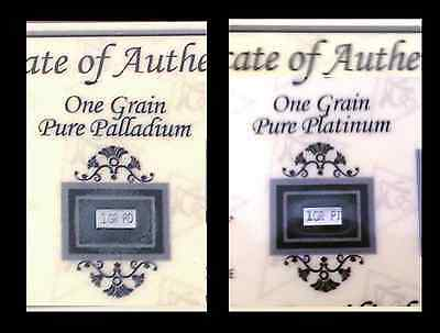 ^ 2 bars ACB Palladium /& Platinum 1GRAIN BULLION PURE BARS 99.9 SOLID