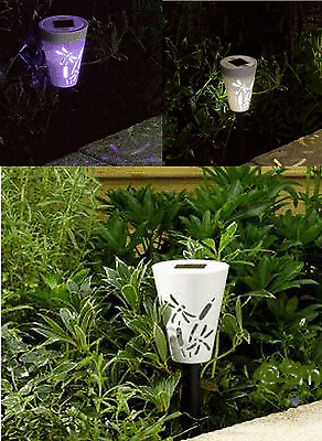 10 x Colour Changing Silhouette Wireless Garden LED Solar Lights Power Post Path