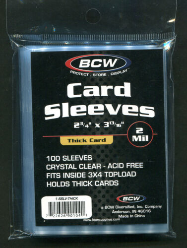 100 BCW Trading Card THICK Card Penny Sleeves 1 Pack