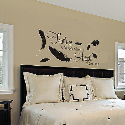 Feathers Appear When Angels Are Near Wall Sticker Bedroom Wall Art Bedroom Ebay