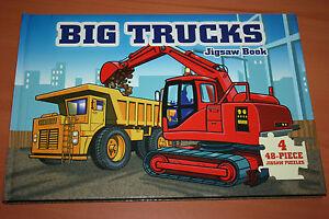 4 Puzzles de 48 pièces d'Engins de Chantiers Big Trucks Livres en Anglais  Neuf