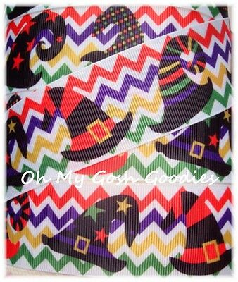 1.5 HALLOWEEN CHEVRON WITCHY WITCH HATS GROSGRAIN RIBBON 4 HAIRBOW BOW