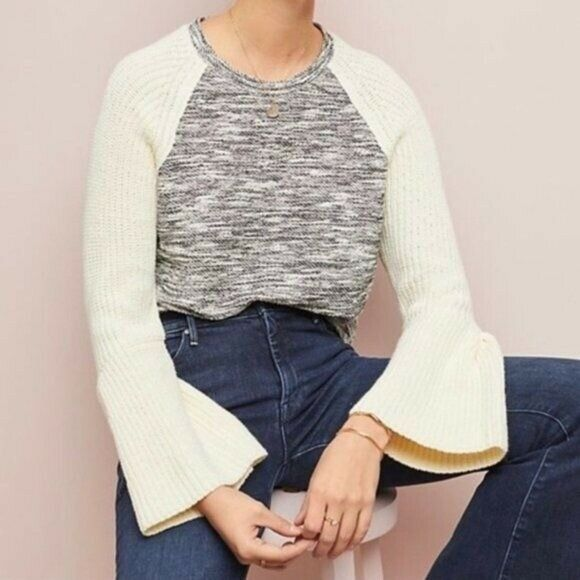 Dolan Textured Knit Bell Sleeve Sweater Sz S - image 2