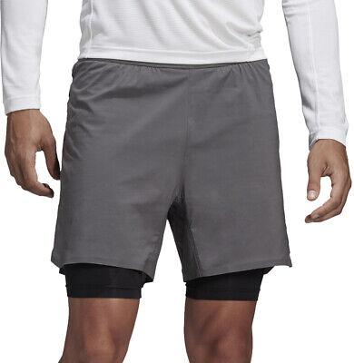 Umile Adidas Terrex Peso 2 In 1 Pantaloncini Da Uomo Corsa-grigio-mostra Il Titolo Originale Chiaro E Distintivo