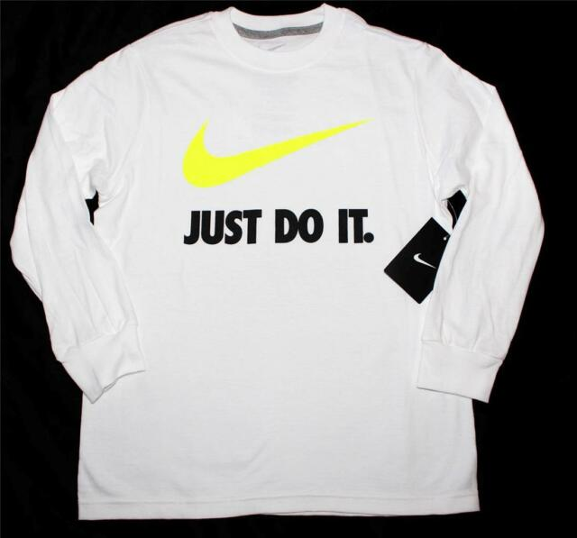 360941a3 Nike Youth Boys Just Do It Swoosh Graphic Long Sleeve Shirt White Volt  611507