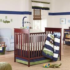 NoJo Alligator Blues Collection Baby 4-Piece Crib Bedding Set, Hippo Turtle Bird