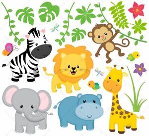 B1-Kinderzimmer-Wandtattoo-Safari-Tiere-ZOO-Affe-Loewe-Giraffe-Zebra-Wandsticker
