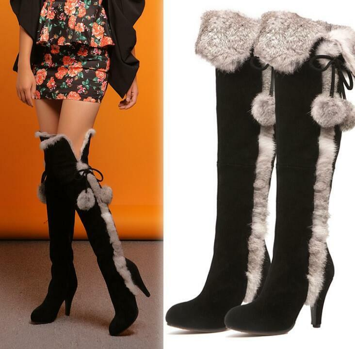 Womens Suede Leather Real Rabbit Fur shoes Winter Warm Knee High Riding Boots SZ