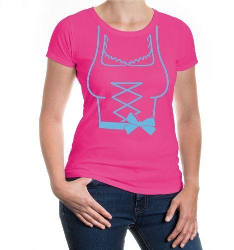 Damen Kurzarm Girlie T-Shirt Dirndl Dress Oktoberfest Tracht Kirmes Volksfest