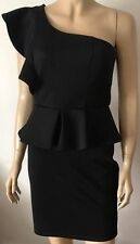 LUXE Black Ruffled One Shoulder Sleeveless Wrap Evening Party Dress Size 10
