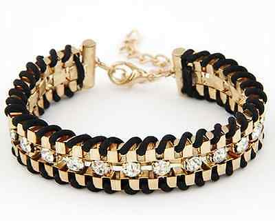 Wholesale Women Style Bracelet Gold Rhinestone Bangle Charm Cuff Jewelry