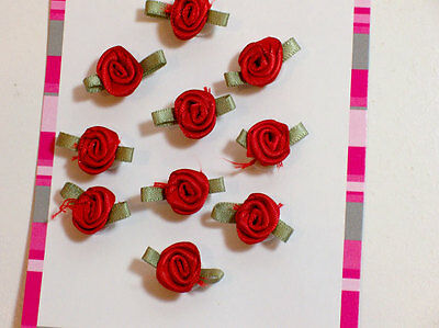 Red Rose Appliques Offray Small Rolled Rose Satin Flowers X 10 pcs Emerald