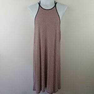 American-Eagle-Outfitters-Womens-Dress-L-Red-White-Blue-Stripe-Midi-Viscose-PS6