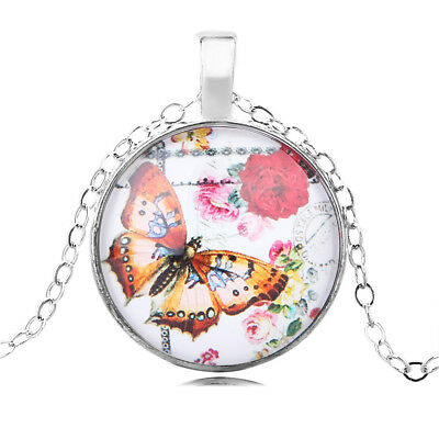Vintage Style Glass Pendant Blue /& Purple Exclusive Rose Flower Necklace N470