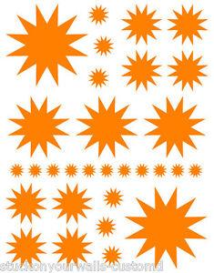 Details about 60 ORANGE STAR STARBURST BEDROOM WALL DECALS STICKERS TEEN  GIRL BEDROOM ART