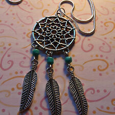 """Dream Catcher + Feathers + Turquoise Necklace 30""""  White Gold Filled Snake Chain"""