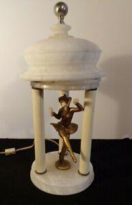 GERDAGO-ART-DECO-Pixie-Harlequin-3-colonne-avec-albatre-Dome-Lampe-de-table