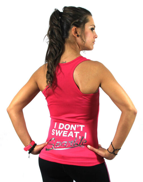 I Dont Sweat Training Sexy Ladies Women Racerback Gym Yoga Workout Vest Tank Top