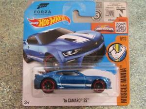 Hot-Wheels-2016-129-250-2016-CAMARO-SS-blue-Muscle-Mania-Case-L-New-Casting