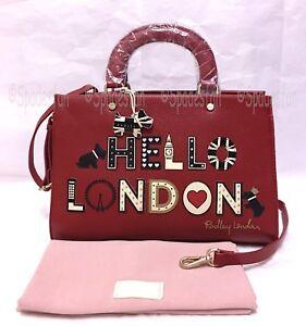 Radley-London-039-s-Calling-034-HELLO-LONDON-034-Satchel-Grab-Bag-Purse-CLARET-RED-NWT