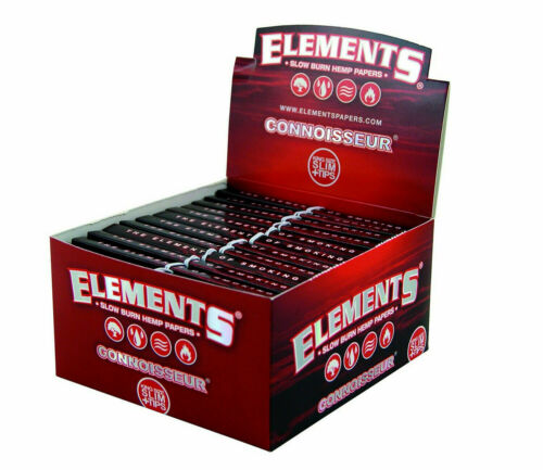 Tips King Size Slim Rolling Papers CONNOISSEUR Hemp Red Elements Papers