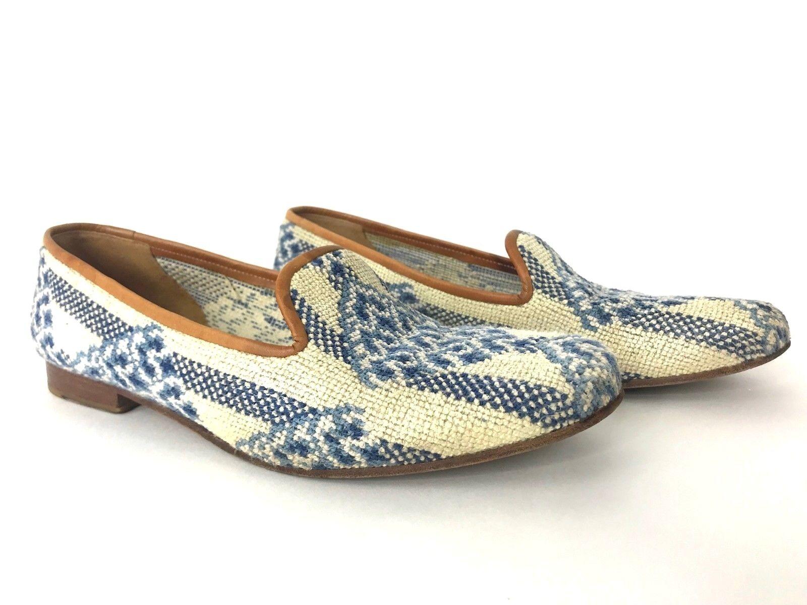Stubbs & Wootton Women's Shoes Needlepoint Knit Leather Trim Mules SZ 9.5