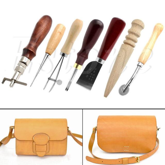 Leather Craft Outils Punch Kit Surpiqûres SCULPTURE travail de couture Selle Groover
