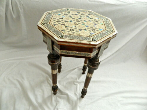 """Egyptian Inlaid Mother of Pearl Paua Wood Room Table Hexagonal 12/"""" Quality"""