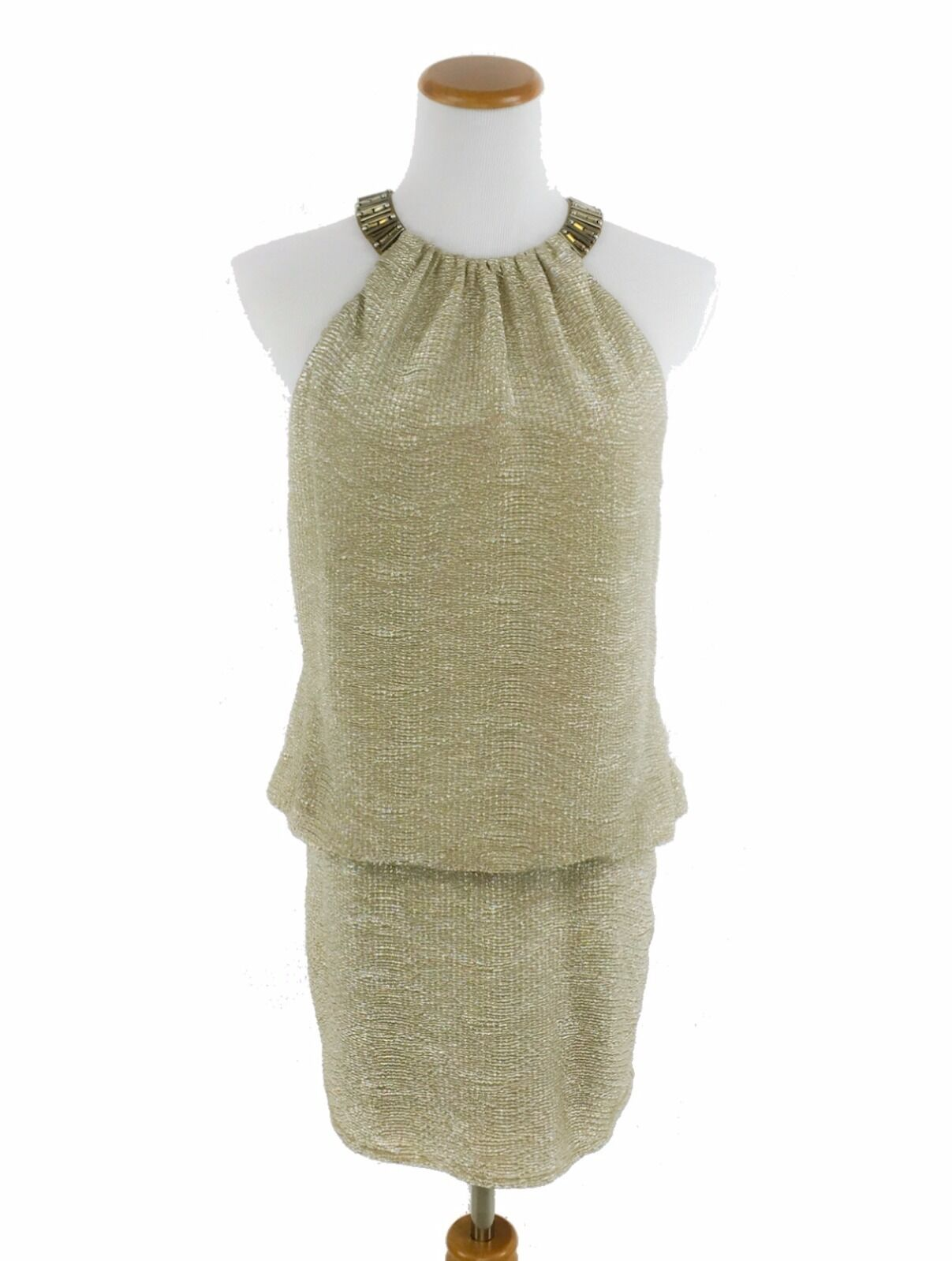 Laundry by Shelli Segal golden Shimmer Beaded Sleeveless Party Dress XS 2  219