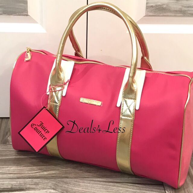 Juicy Couture DUFFLE BAG WEEKENDER BAG TRAVEL BAG NEW PINK GOLD ... 8b3a562bf