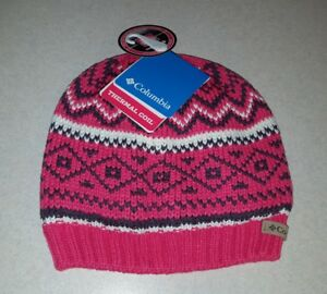 40 Columbia Womens Knit Winter Hat PINK White Pine THERMAL COIL ... 798e2e2a342