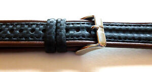 20mm-BROWN-LEATHER-BLACK-NYLON-WATCH-BAND-STRAP-NICE-SOFT-LEATHER