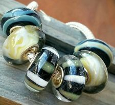 6PC Black Tan Desert Earth Tone Yellow Single Core Murano Glass European Beads