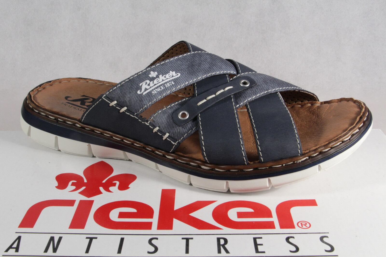 Sandali e scarpe per il mare da uomo Rieker Sandali Ciabatte Zoccoli Pantofola Pantofole Blu 25199 Nuovo