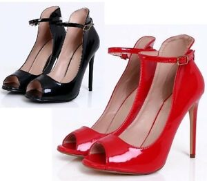 New-Ladies-Red-Black-Patent-Ankle-Strap-Peep-Toes-High-Heel-Court-Shoes-Sizes