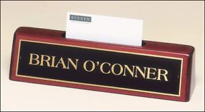 Image Is Loading Mahogany Finish Desk Name Plate Business Card Holder