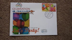 AUSTRALIAN-FDC-ALPHA-FIRST-DAY-COVER-2003-CELEBRATION-amp-NATION-LETS-PARTY