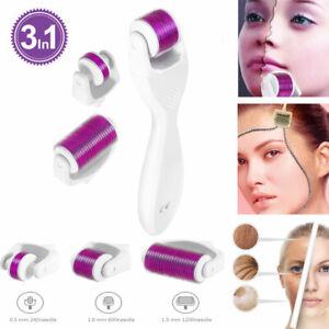 Derma-Roller-3in1-Titanio-Micro-Ago-0-5-1-0-1-5-mm-Derma-Rullo-Occhi-Viso-Corpo