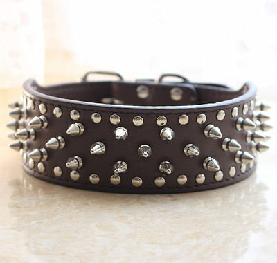 2 Quot Wide Leather Spiked Studded Dog Collar Pitbull Bully