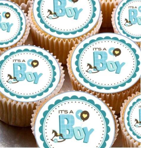 24 x il est un garçon cup cake fée bun comestible gaufre toppers baby shower nouveau né