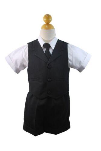 New Baby Boy /& Toddler Eton Formal Vest Shorts Suit S M L XL 2T 3T 4T Black