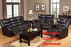 Bonded Leather Motion Sofa Set Black 2 Pcs Living Room Sofa Loveseat Furniture