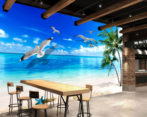 Papel Pintado Mural De Vellón Playa Cocotero De Gaviota 2 Paisaje Fondo Pansize